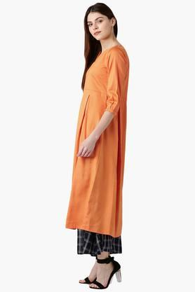 Womens Cotton Solid A-Line Kurta