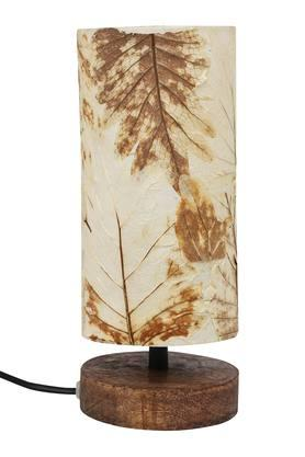BACK TO EARTH Cylindrical Leaves Paper Electrical Table Lamp - 20cms