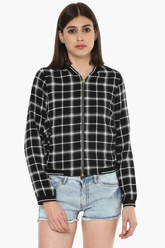 Womens Zip Through Neck Checked Jacket