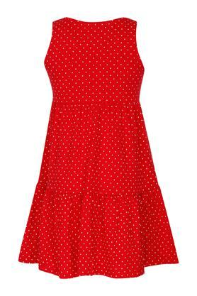 Girls Round Neck Dot Pattern A-Line Dress