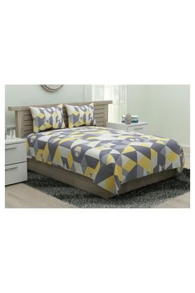 SPACESModern Line Geometric Printed Single Bed Sheet With Pillow Cover