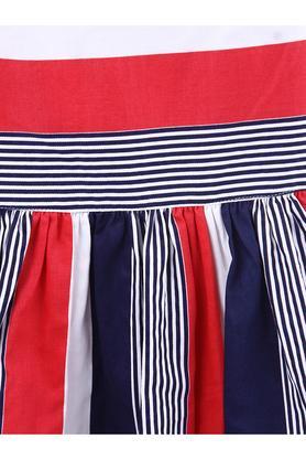 Girls Regular Fit Round Neck Stripe Flared Dress
