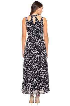 Womens High Neck Printed Maxi Dress