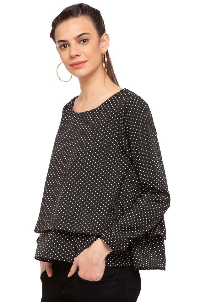 Womens Round Neck Dot Pattern Top