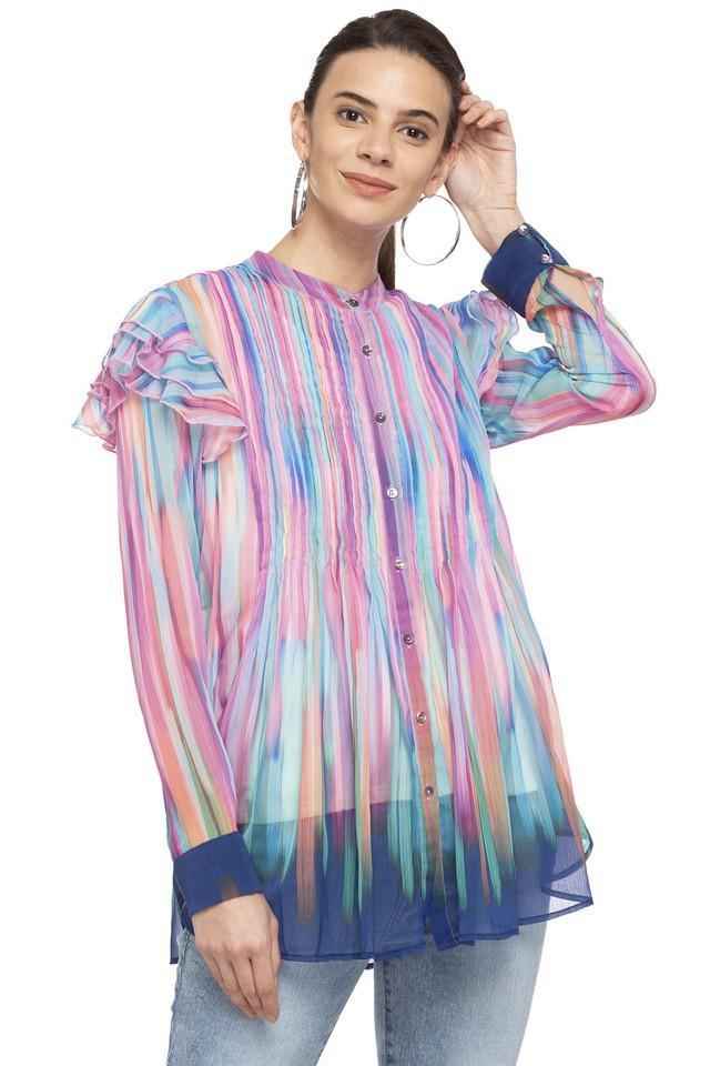 Womens Mandarin Neck Printed Shirt