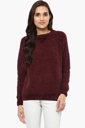 GIPSY Womens Round Neck Knitted Pattern Sweater