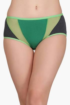 Womens Mid Waist Solid Hipster Briefs