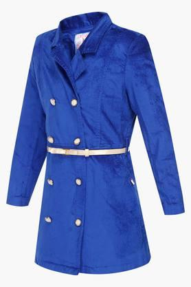 Girls Collared Solid Jacket with Belt