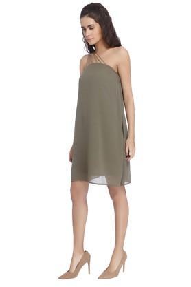 Womens Solid One Shoulder Dress