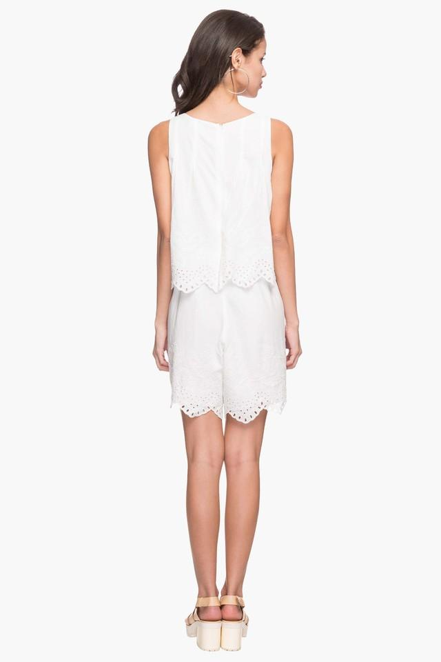 Womens Round Neck Perforated Layered Dress