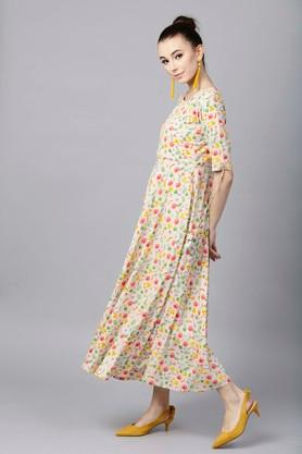 Womens Round Neck Floral Print Flared Dress With Yoke Lining