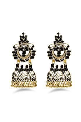 Womens Stone Studded Jhumka Earrings