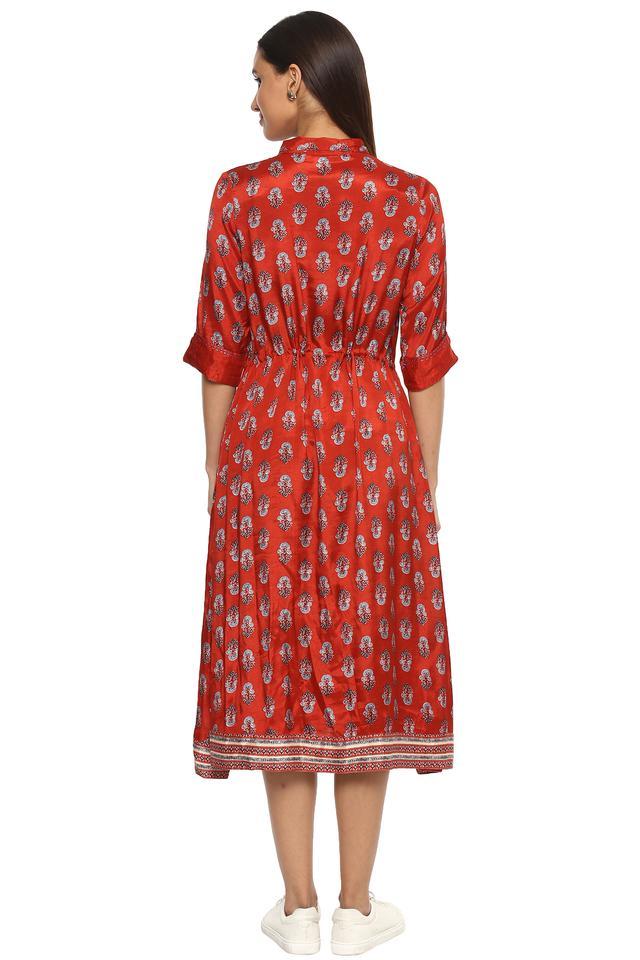 Womens Collared Printed Midi Dress