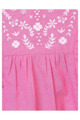 Girls Round Neck Embroidered Dress
