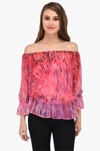 Womens Off Shoulder Printed Top