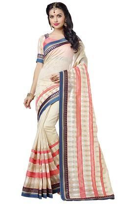 DEMARCAWomens Banarasi Silk With Organza Butti Designer Saree