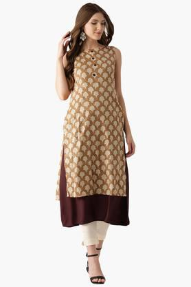 LIBAS Womens Cotton Printed A Line Kurta