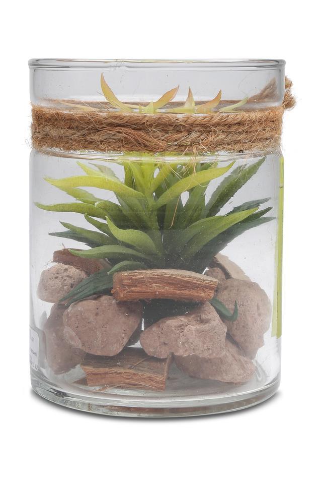 Artificial Plant Arrangement Glass Jar