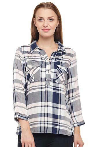 Womens 2 Pocket Checked Top