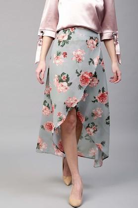 SASSAFRASWomens Floral Print High Low Skirt