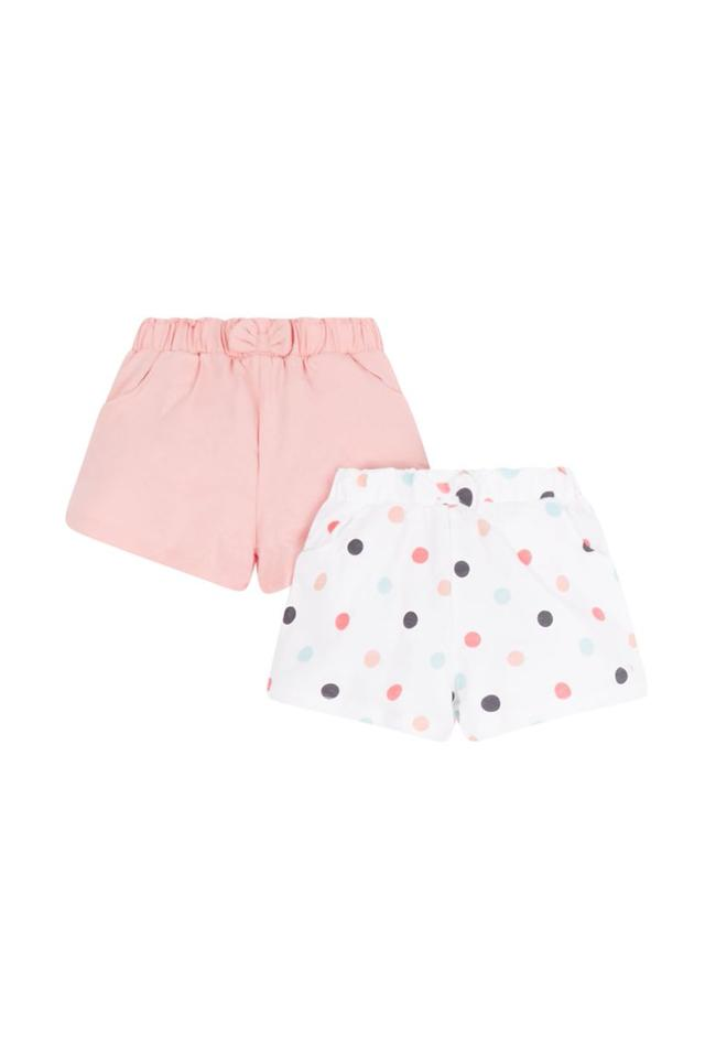 Girls Printed and Solid Shorts - Pack Of 2