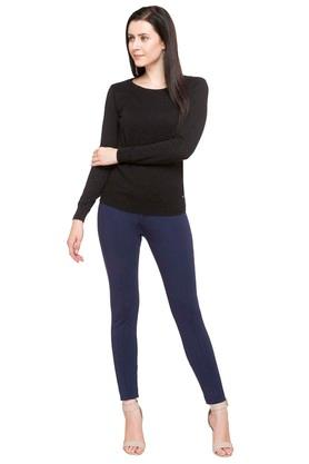 8b1a1c67811 Buy ALLEN SOLLY Womens Round Neck Slub Shimmer Top | Shoppers Stop