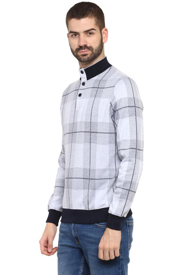 Mens High Neck Checked Sweatshirt