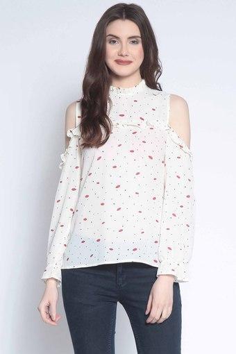 Womens Ruffled Neck Printed Top