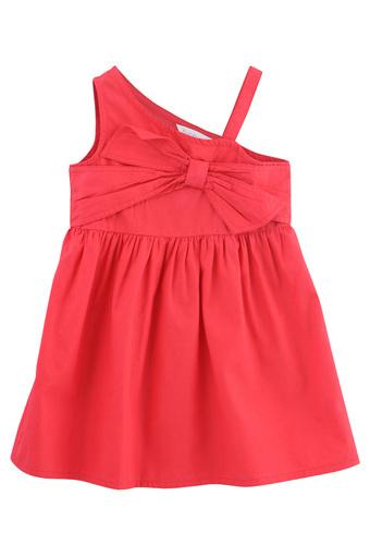 Girls One Shoulder Neck Solid Front Bow A-Line Dress