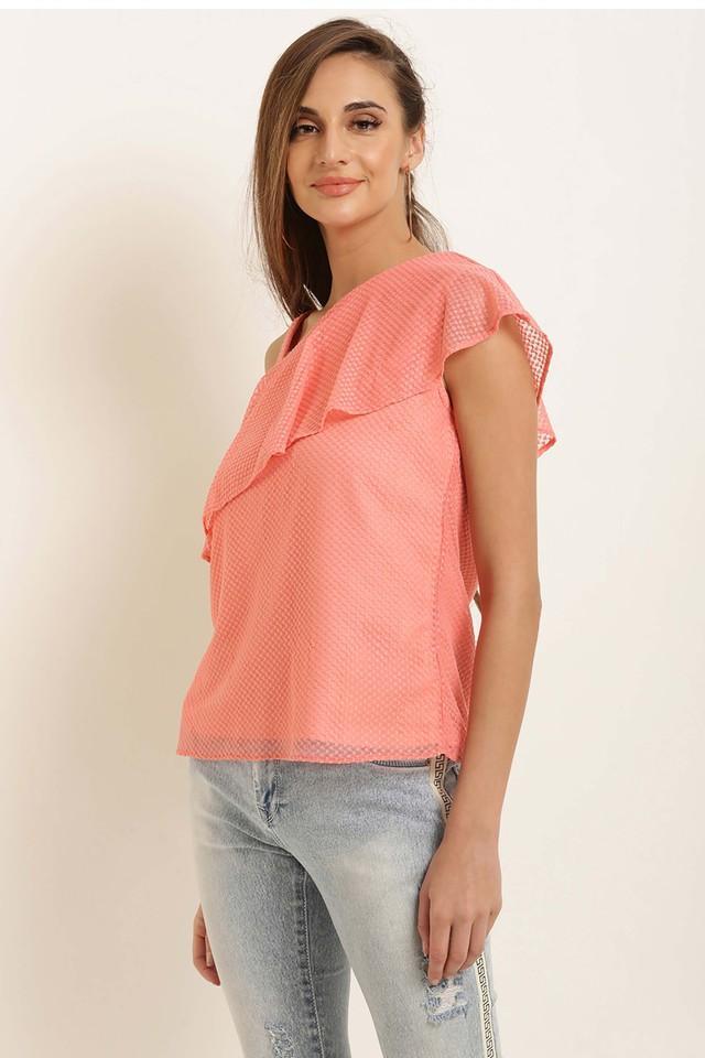 Womens Designer Neck Self Pattern Top