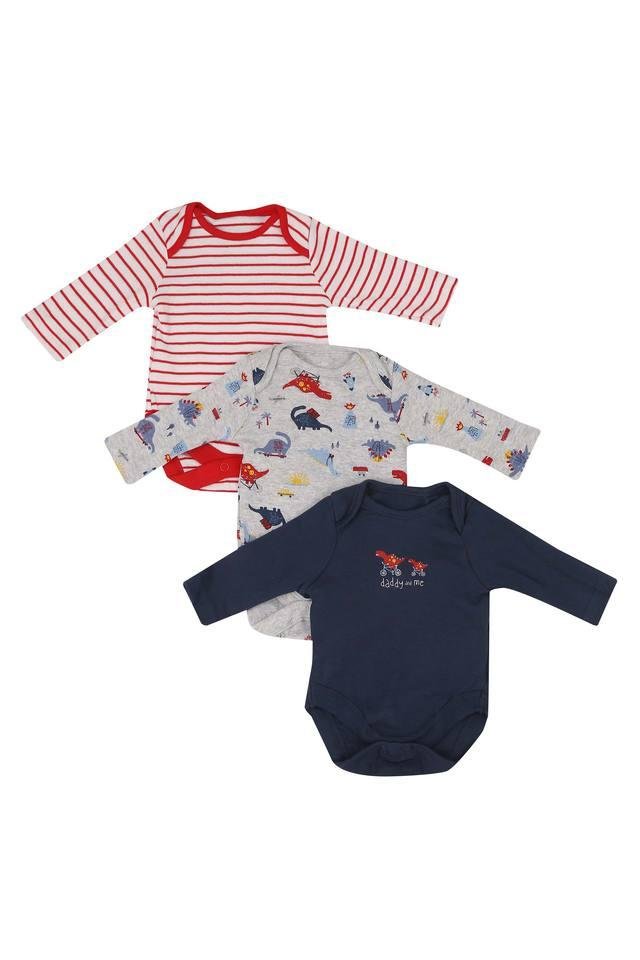 Boys Envelope Neck Solid Stripe and Printed Bodysuit Pack of 3
