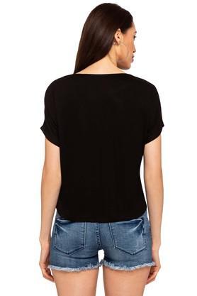 9d0b1a367f487 X LIFE Womens Round Neck Printed T-Shirt