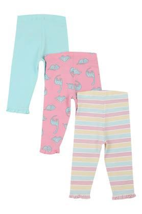 Girls Printed Solid and Striped Leggings - Pack of 3
