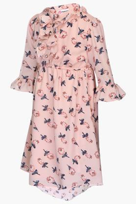 Girls Mandarin Neck Printed Flared Dress