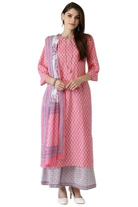LIBAS Womens Cotton Printed Kurta Set