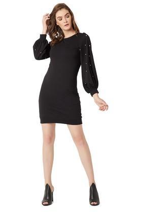 Womens Round Neck Embellished Shift Dress