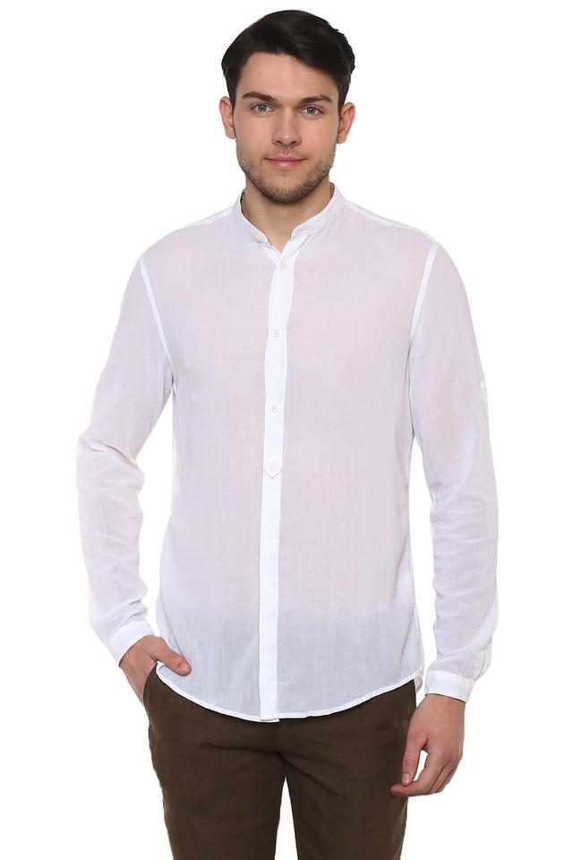 Mens Mandarin Collar Solid Shirt
