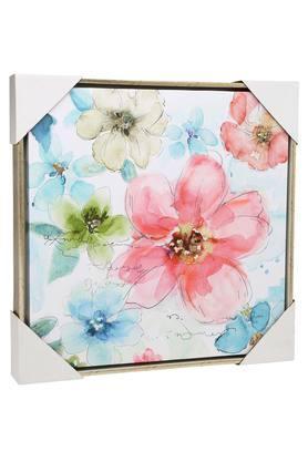 Square Multi Colour Floral Canvas Painting