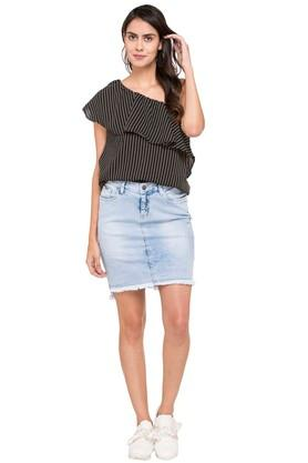 Womens One Shoulder Neck Striped Top