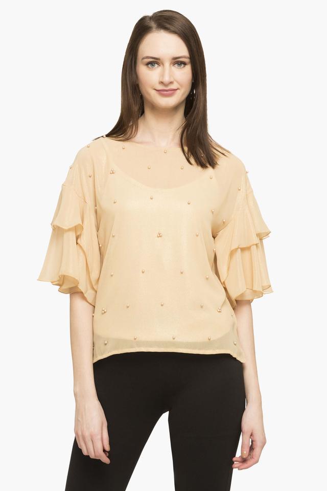Womens Round Neck Embellished Shimmer Top