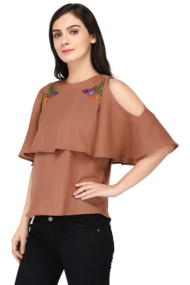 Womens Cold Shoulder Embroidered Top