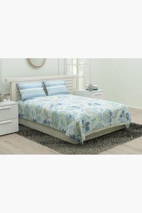 Poly Cotton Floral King Bed Sheet with Pillow Cover