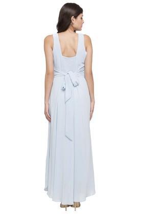 Womens V Neck Embellished Gown