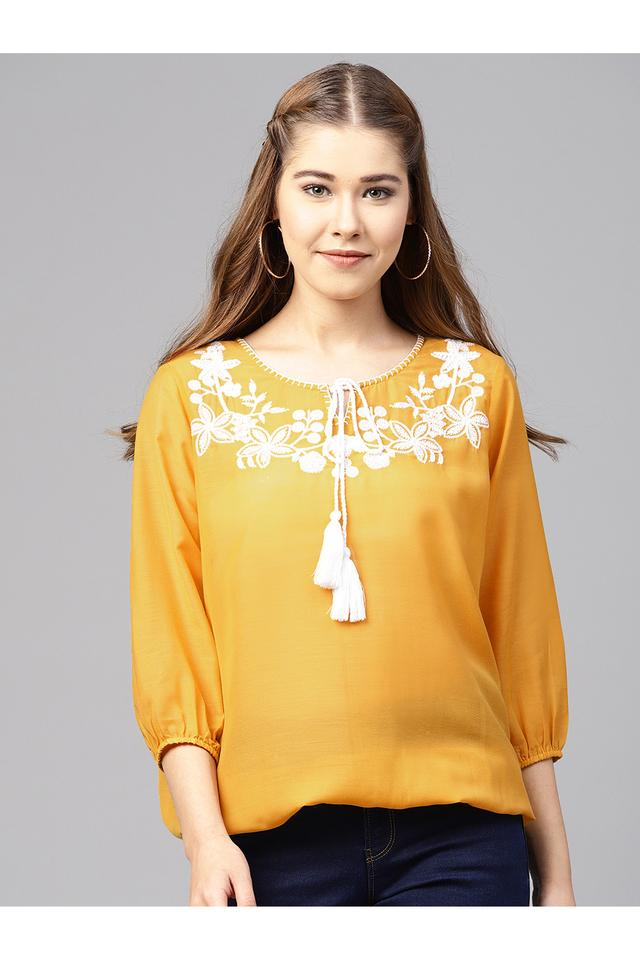 Womens Tie Up Neck Embroidered Cinched Waist Top