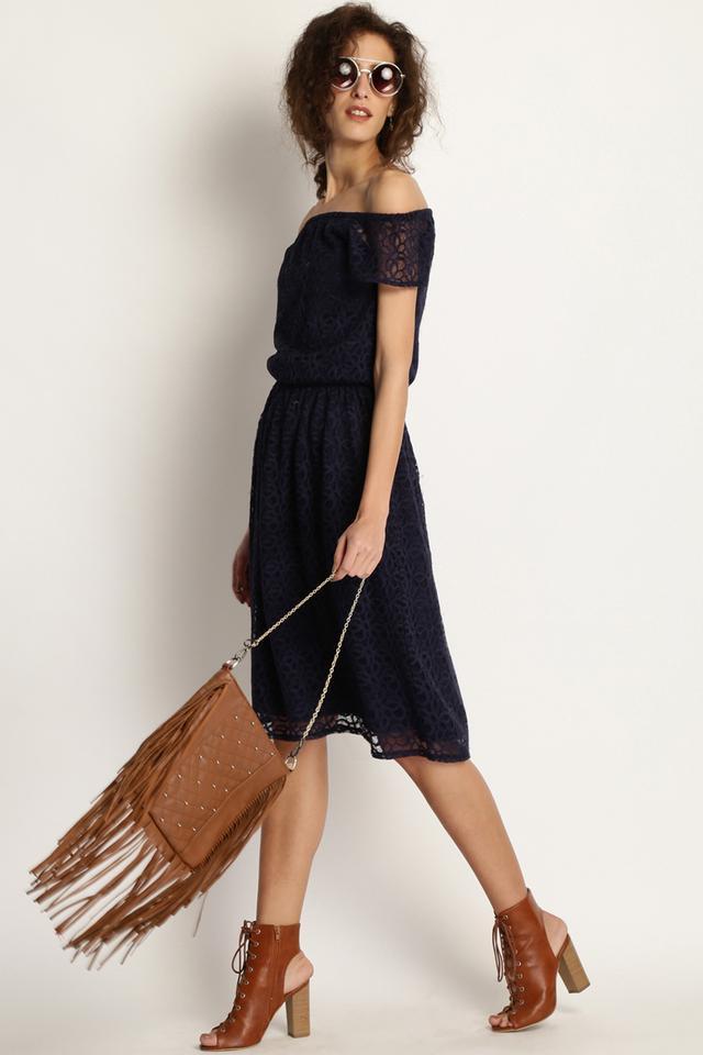 Womens Off Shoulder Knee Length Dress