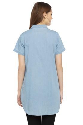 Womens Washed Long Shirt