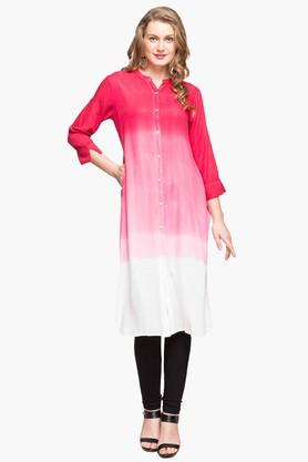 IMARA Womens Mandarin Neck Colour Block Kurta - 203080021