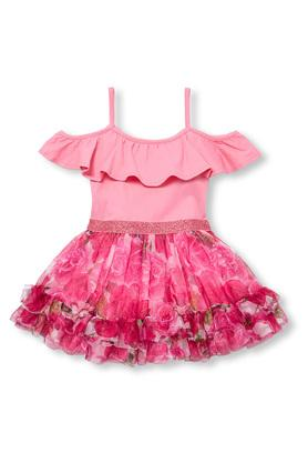 Girls Off Shoulder Shimmer Dress