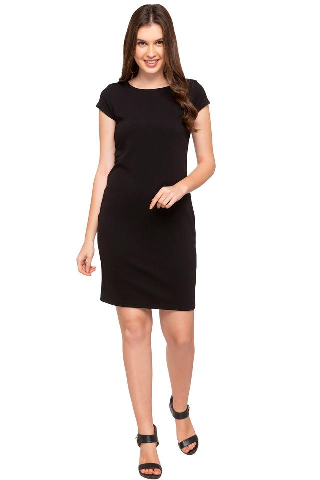 Womens Round Neck Solid A-Line Dress