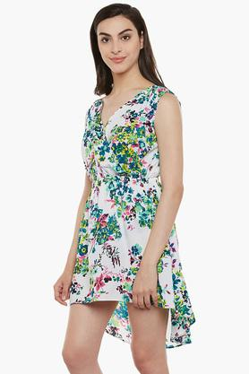 Womens V-neck  Floral Printed Beachdress